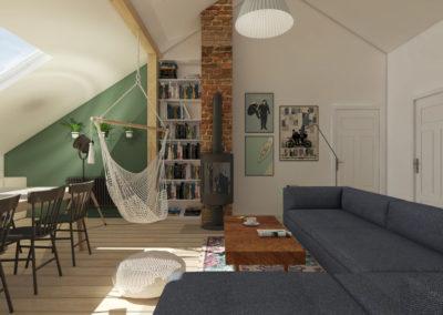 Projekt salonu i jadalni na poddaszu z granatową sofą