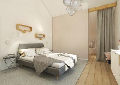 Elegancka jesna sypialnia z garderobą zaprojektowana przez studio hex