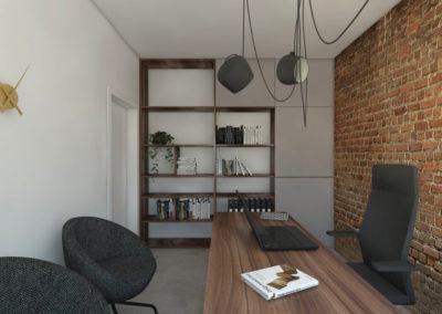 Nowoczesne biuro z ceglaną ścianą zaprojektowane przez studio hex