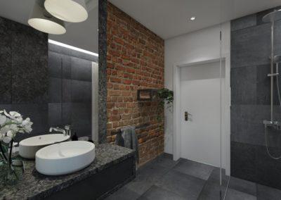 ciemna łazienka z cegłą i fornirem kamiennym