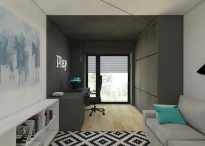 Biuro i pokój gier z szarą stref a do gier i białą strefą do wypoczynku