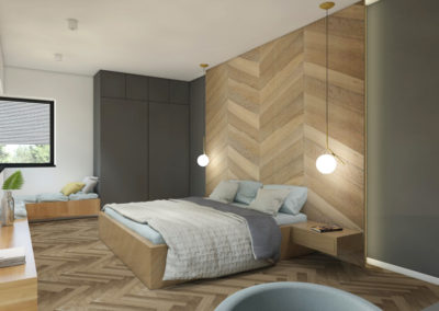 Sypialnia z drewnianą jodełką