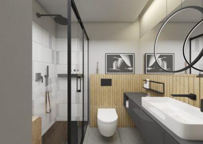 Czarno biała łazienka z motywem jasnego drewna