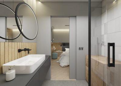 Szara łazienka z motywem jasnego drewna