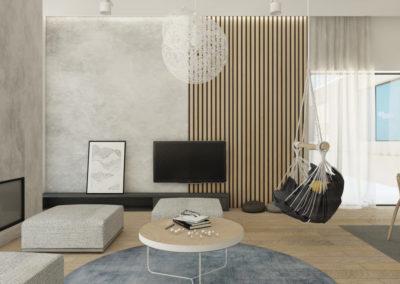 Jasno szary pokój dzienny w domu jednorodzinnym zaprojektowany przez studio hex