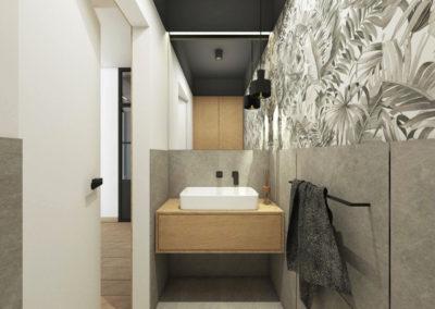 Mała jasnoszara łazienka z motywem jasnego drewna zaprojektowana przez studio hex