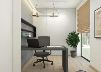 Eleganckie domowe biuro z szarym biurkiem oraz żaluzjami
